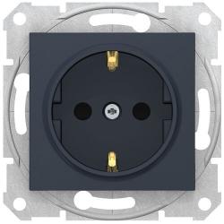 Розетка Sedna с/з со шторками с быстрозажимными клеммами (грифит) SDN3001770
