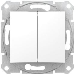 Проходной двухклавишный переключатель Sedna (белый) SDN0600121