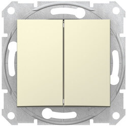 Проходной двухклавишный переключатель Sedna (бежевый) SDN0600147