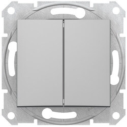 Выключатель двухклавишный Sedna (алюминий) SDN0300160