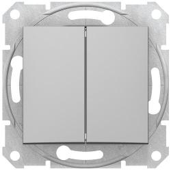Проходной двухклавишный переключатель Sedna (алюминий) SDN0600121
