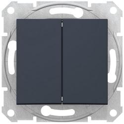 Выключатель двухклавишный Sedna (графит) SDN0300170