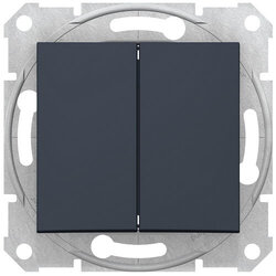 Проходной двухклавишный переключатель Sedna (графит) SDN0600170