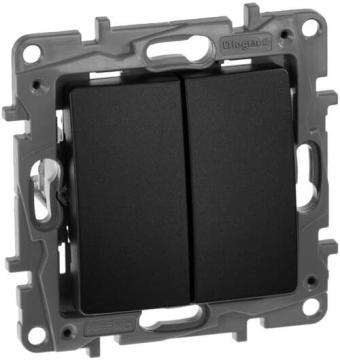 Выключатель-переключатель двухклавишный Etika (антрацит)  672612