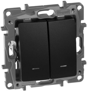 Выключатель-переключатель Etika двухклавишный с подсветкой (антрацит)  672616