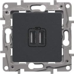 Розетка USB Etika с двумя разъемами тип А/тип А (антрацит)  672694