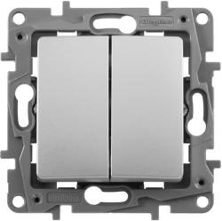 Выключатель двухклавишный Etika (алюминий)  672402