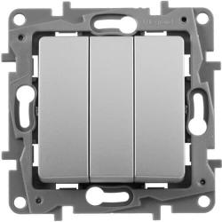 Выключатель трехклавишный Etika (алюминий)  672413