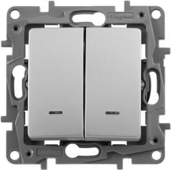 Выключатель-переключатель Etika двухклавишный с подсветкой (алюминий) 672416