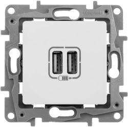 Розетка USB Etika с двумя разъемами тип А/тип А (белая) 672294
