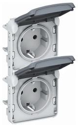 Розетка Plexo с заземлением IP55 двойная вертикальная (цвет серый) 069577