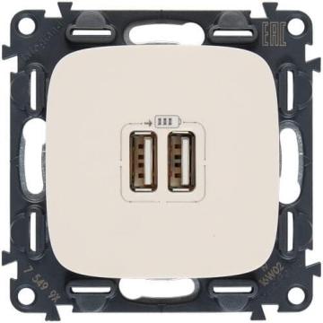 Розетка USB Valena Allure с двумя разъемами тип А/тип А (слоновая кость) 754996