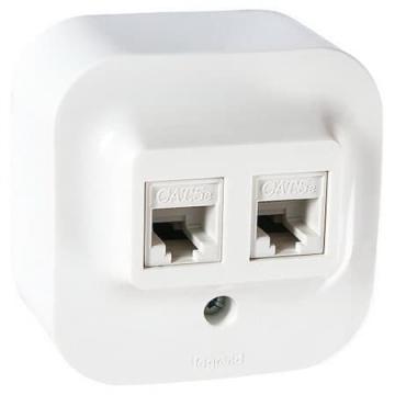 Розетка компьютерная + телефонная RJ45+RG11 Quteo  (Белая) 782221