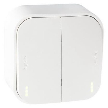 Проходной переключатель двухклавишный с подсветкой 10А Quteo (Белый) 782206+782257