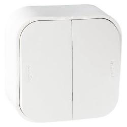 Проходной переключатель двухклавишный 10А Quteo (Белый) 782206