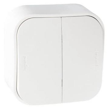 Выключатель двухклавишный 10А Quteo (Белый) 782202