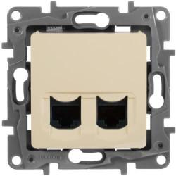 Розетка компьютерная двойная Etika 6 кат. (слоновая кость) 672354