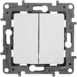 Выключатель двухклавишный Etika (белая) 672202