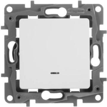Артикул: 672215, Выключатель-переключатель Etika одноклавишный с подсветкой (белая)