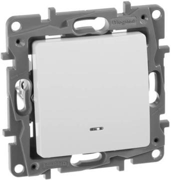 Выключатель одноклавишный Etika с подсветкой (белая) 672203