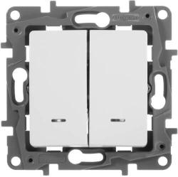 Выключатель-переключатель Etika двухклавишный с подсветкой (белая)