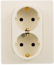 Розетка двойная Etika Plus с заземлением со шторками безвинтовые зажимы (слоновая кость) 672333