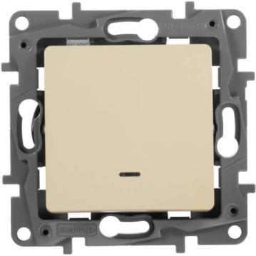 Выключатель-переключатель Etika одноклавишный с подсветкой (слоновая кость) 672315