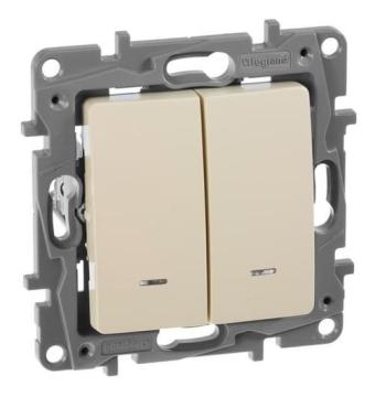 Выключатель двухклавишный Etika с подсветкой (слоновая кость) 672304