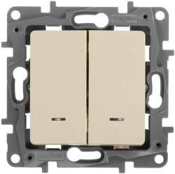 Выключатель-переключатель Etika двухклавишный с подсветкой (слоновая кость)