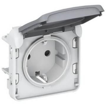 Розетка Plexo с заземлением на безвинтовых зажимах IP55 (цвет серый) 069570
