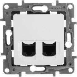Розетка компьютерная двойная Etika 5 кат. (белая) 672255