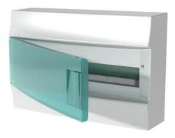 Бокс настенный ABB Mistral41 на 18 мод. зеленая дверца (без клемм) 1SPE007717F0820