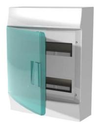 Бокс настенный ABB Mistral41 на 24 мод. зеленая дверца (без клемм)