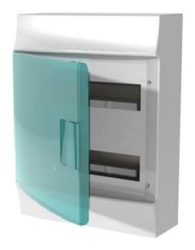 Бокс настенный ABB Mistral41 на 24 мод. зеленая дверца (без клемм) 1SPE007717F0520