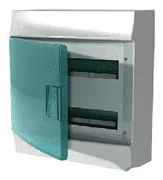 Бокс настенный ABB Mistral41 на 36 (2x18) мод. зеленая дверца (без клемм)