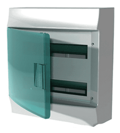 Бокс настенный ABB Mistral41 на 36 (2x18) мод. зеленая дверца (без клемм) 1SPE007717F0920