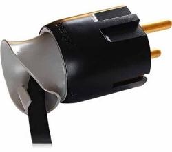 Вилка 16А с заземлением с поворотным механизмом (чёрная) 050173