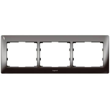Рамка Galea life трехместная горизонтальная (тёмный никель) 771943