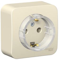 Розетка компактная с заземлением без шторок Blanca Schneider Electric О/У с изолир. пластиной (молочный) BLNRA110112