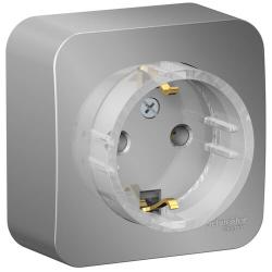 Розетка компактная с заземлением без шторок Blanca Schneider Electric О/У с изолир. пластиной (алюминий) BLNRA110113