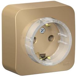 Розетка компактная с заземлением без шторок Blanca Schneider Electric О/У с изолир. пластиной (титан) BLNRA110114