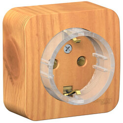 Розетка компактная с заземлением без шторок Blanca Schneider Electric О/У с изолир. пластиной (ясень) BLNRA110115