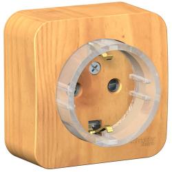 Розетка компактная с заземлением со шторками Blanca Schneider О/У с изолир. пластиной (ясень) BLNRA111115