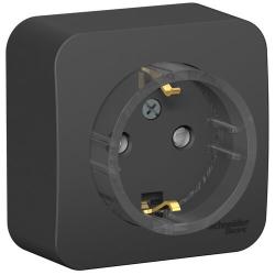 Розетка компактная с заземлением без шторок Blanca Schneider Electric О/У с изолир. пластиной (антрацит) BLNRA110116