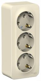 Розетка с заземлением тройная Blanca О/У с изолир. пластиной (молочный) BLNRA010312