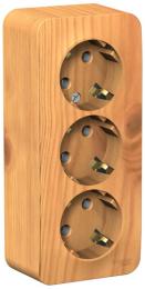 Розетка с заземлением тройная Blanca О/У с изолир. пластиной (ясень) BLNRA010315