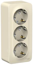 Розетка с заземлением тройная со шторками Blanca О/У с изолир. пластиной (молочный) BLNRA011312