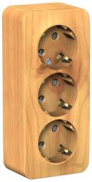 Розетка с заземлением тройная со шторками Blanca О/У с изолир. пластиной (ясень) BLNRA011315