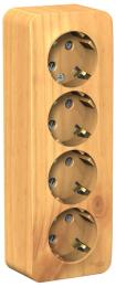 Розетка с заземлением 4-я со шторками Blanca О/У с изолир. пластиной (ясень) BLNRA011415