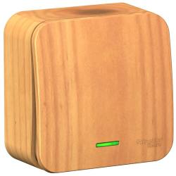 Выключатель 1кл с подсветкой Blanca О/У 10А с изолир. пластиной (ясень) BLNVA101115